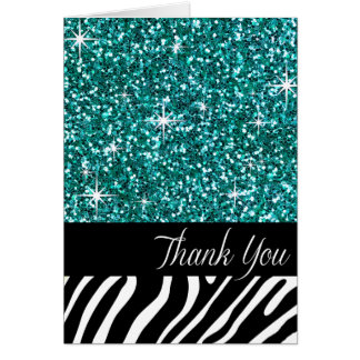 Glam Bling Glitter Zebra Thank You | teal Card