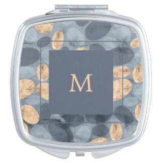 Glam Blue Dots with Gold   Monogram Compact Mirrors