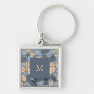 Glam Blue Dots with Gold | Monogram Keychain
