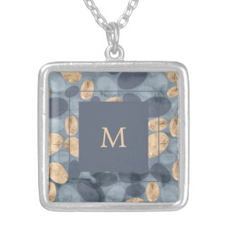 Glam Blue Dots with Gold | Monogram Silver Plated Necklace