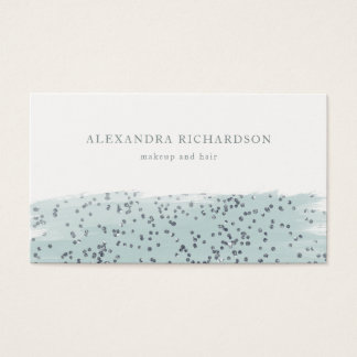 Glam Blue with Faux Sparkle on White Business Card