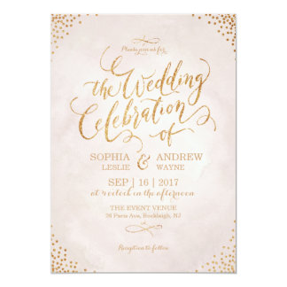 "Glam blush glitter rose gold calligraphy wedding 5"" x 7"" invitation card"