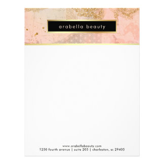 Glam Blush Pink, Black, and Faux Gold Business Letterhead
