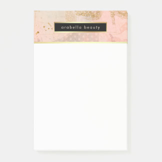 Glam Blush Pink, Black, and Faux Gold Post-it Notes