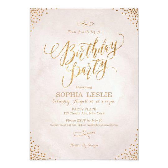Glam blush rose gold calligraphy birthday party card