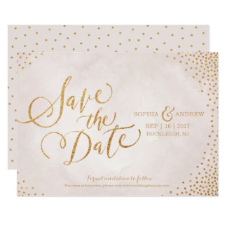 "Glam blush rose gold calligraphy save the date 5"" x 7"" invitation card"