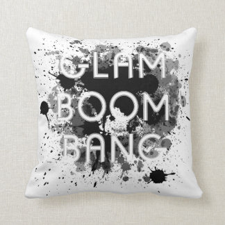 Glam Boom Bang (2 Side )Black & White Paint Splat Throw Pillow
