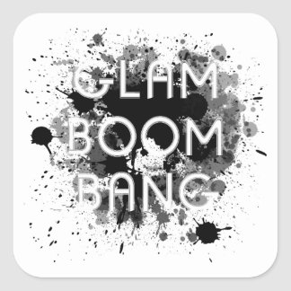 Glam Boom Bang Dark Paint Splat Square Sticker