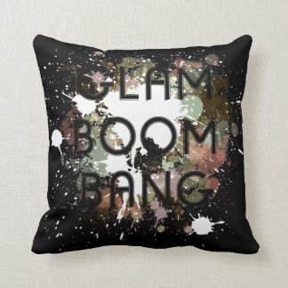 Glam Boom Bang Light Paint Splat Throw Pillow