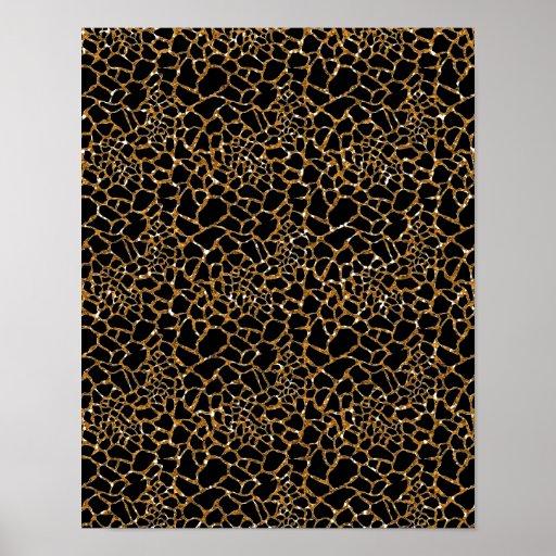 Glam Bronze Sparkles with Wild Animal Print Print