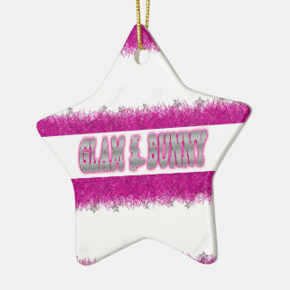 Glam Bunny Pink Star Christmas ornament