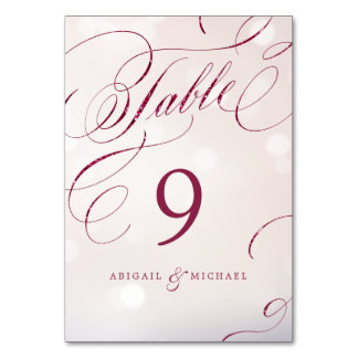 Glam burgundy calligraphy wedding table number