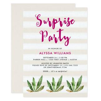 Glam Cactus   Desert Stripes Surprise Party Card