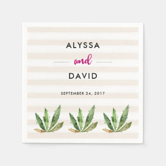 Glam Cactus | Desert Stripes Wedding Paper Napkin