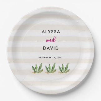 Glam Cactus | Desert Stripes Wedding Paper Plate