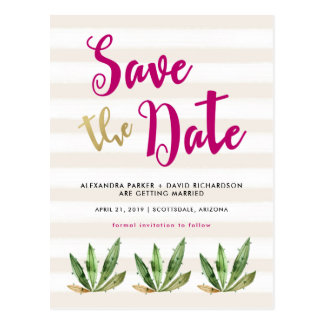 Glam Cactus Save the Date Postcard