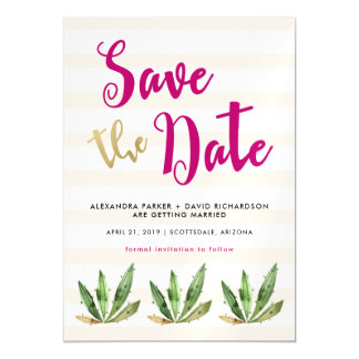 Glam Cactus Wedding Save the Date Magnetic Card