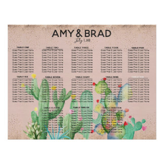 Glam Cactus Wedding Table Seating Chart