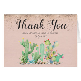 Glam Cactus Wedding - Thank You Note Card