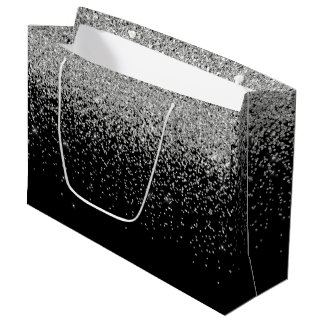 Glam Cascades of Silver Glitter Black Background Large Gift Bag