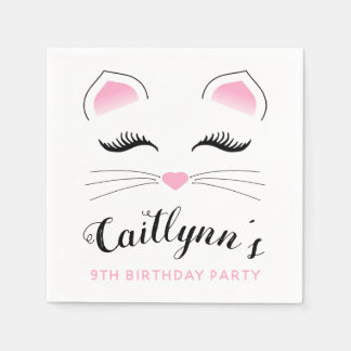 Glam Cat Birthday Party Disposable Napkins