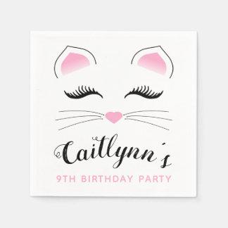 Glam Cat Birthday Party Paper Napkin