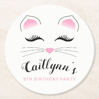 Glam Cat Birthday Party Round Paper Coaster