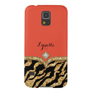 Glam Chic Glittering Zebra Print Pattern Gold Gem Galaxy S5 Case