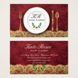 Glam Christmas Red Event Planner Catering Cutlery Business Card