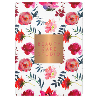 Glam copper metallic pink blush floral pattern clipboard