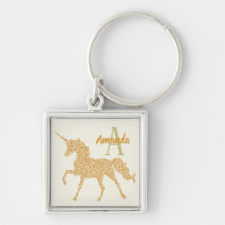 Glam Custom Monogram and Name Gold Glitter Unicorn Keychain