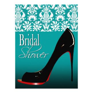 Glam Damask Stiletto Bridal Shower Custom Invites