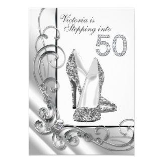 Glam Diamond Stepping Into 50 Birthday Party Card