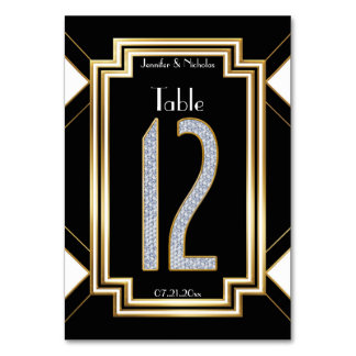 Glam Diamonds Art Deco Wedding Table Number Twelve Table Cards