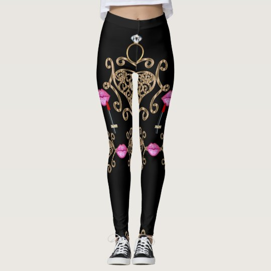 Glam Diva Gold Hearts Expressions Leggings