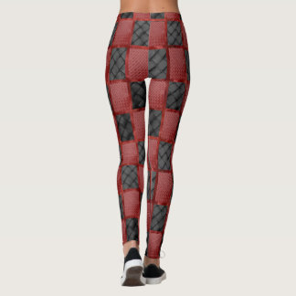 Glam Diva Red and Black Patchwork Leggings