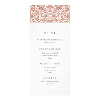 Glam Elegant Faux Rose Gold Glitter Damask Menu