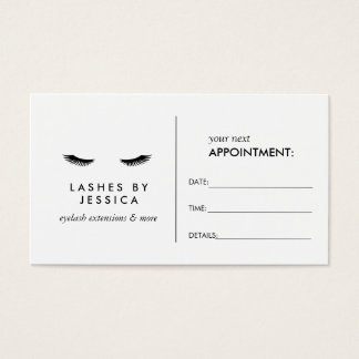 Glam Eyelashes Classic White Appointment Card
