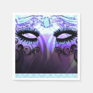 Glam Eyelashes Purple Masquerade Party Custom Paper Napkin