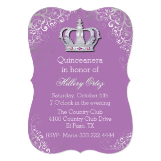 Glam Fancy Crown Quinceanera Invitation