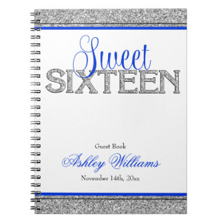 Glam Faux Glitter Silver Blue Sweet 16 Guest Book