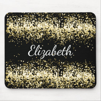 Glam Faux Gold Digital Glitter Personalized Mouse Pad