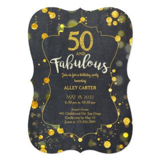 Glam Faux Gold Foil Confetti 50th Birthday Party Card