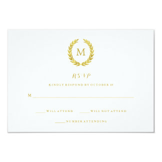 "Glam Faux Gold Foil Laurel Wreath Monogram RSVP 3.5"" X 5"" Invitation Card"