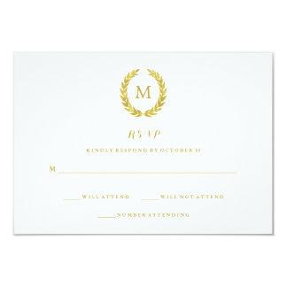 "Glam Faux Gold Foil Laurel Wreath Monogram RSVP 3.5"" X 5"" Invitation Card"