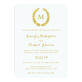 "Glam Faux Gold Foil Laurel Wreath Monogram Wedding 5"" X 7"" Invitation Card"