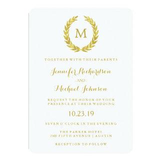 "Glam Faux Gold Foil Laurel Wreath Monogram Wedding 5"" X 7"" Invitation Card"