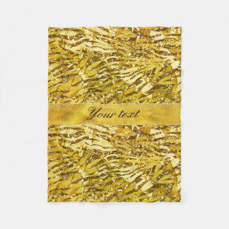 Glam Faux Gold Foil Zebra Pattern Fleece Blanket
