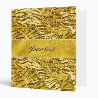 Glam Faux Gold Foil Zebra Pattern Vinyl Binder