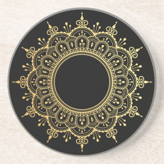 Glam faux gold mandala black coaster